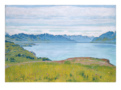 Landscape at Lake Geneva, 1907 Gicléetryck av Ferdinand Hodler