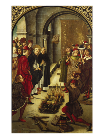 The Trial by Fire (The Burning of the Books or St. Dominic De Guzman and the Albigensians) Giclée-tryk af Pedro Berruguete