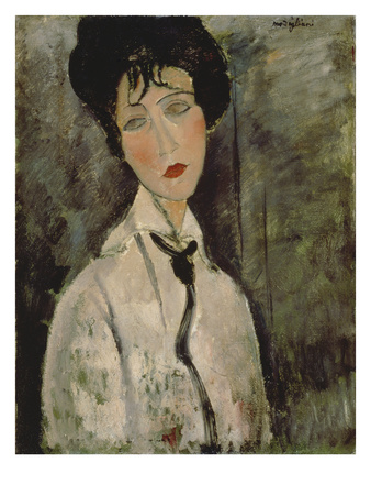 Woman with Black Tie, 1917 ジクレープリント : アメディオ・モディリアーニ