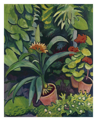 Flower Pots in a Garden: Bush Lilies and Pelargonidin, 1911 Giclee Print by Auguste Macke