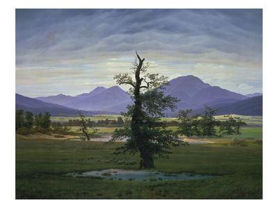 Der Einsame Baum (Dorflandschaft Bei Morgenbeleuchtung) (See also Image Number 1433, 1823 Giclee Print by Caspar David Friedrich