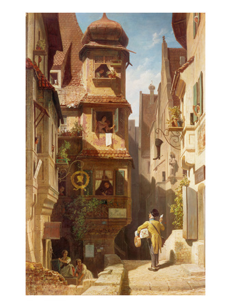 The Postman, about 1852-59 Giclee Print by Carl Spitzweg