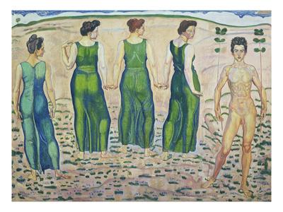 Youth, Adored by the Woman (First Version), 1903 Gicléetryck av Ferdinand Hodler