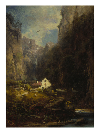 Gorge with Farmhouse at a Stream, about 1875/80 Giclee Print by Carl Spitzweg