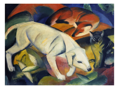 Three Animals (A Dog, a Fox, and a Cat), 1912 Giclee Print by Franz Marc