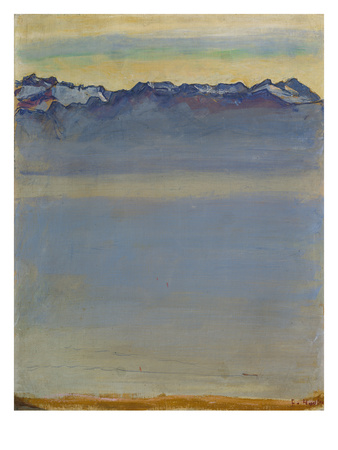 Lake Geneva with Savoyer Alps, 1907 Gicléetryck av Ferdinand Hodler