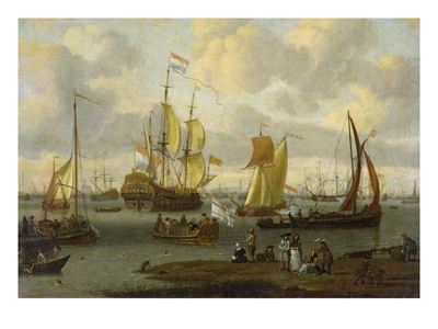 Poeple Walking at the Banks of the River Ij with Ships, 1693 Giclee Print by Abraham Storck