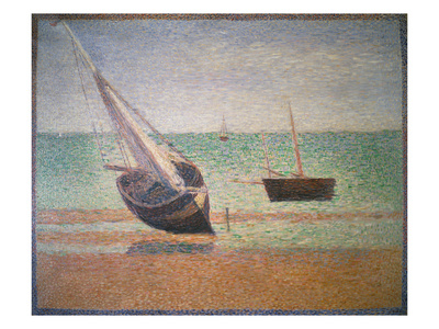 Boote Bei Ebbe Am Strand Von Grandcamp, 1885 Giclee Print by Georges Seurat