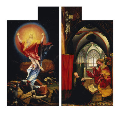 The Resurrection of Christ andAnnunciation. fromLeft and Right Wing ofIsenheim Altarpiece Giclee Print by Matthias Grünewald
