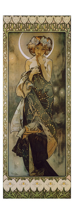 Stars: the Moon, 1902. (Version B) Lámina giclée por Alphonse Mucha