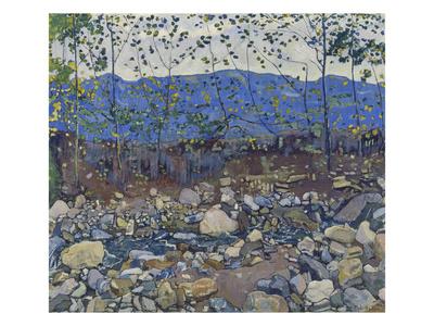 Wooded Landscape with Brook Near Leissigen, 1904 Gicléetryck av Ferdinand Hodler