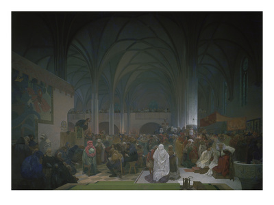 Master Jan Hus Preaching in the Bethlehem Chapel, 1414. from the 'slav Epic', 1916 Giclee Print by Alphonse Mucha