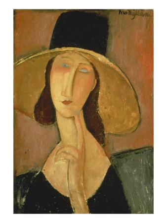 Portrait of Jeanne Hebuterne in a Large Hat Stampa giclée di Amedeo Modigliani