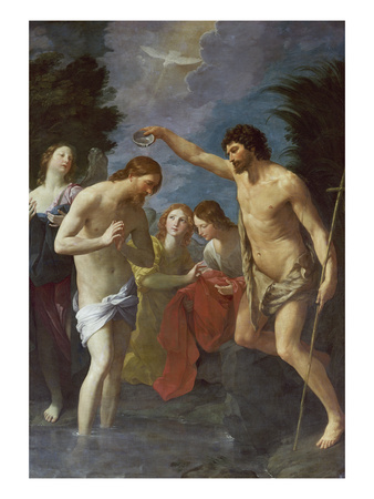 The Baptism of Christ, about 1622/23 Giclee Print by Guido Reni