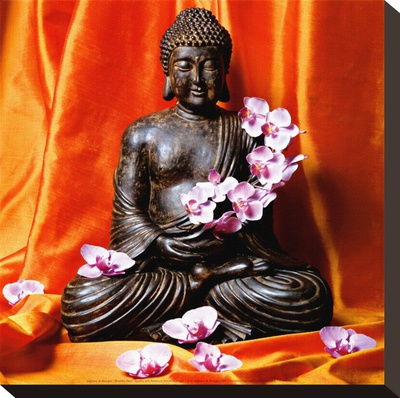 Buddha with Flowers Stretched Canvas Print by Stephane De Bourgies