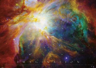 Imagination Nebula - Albert Einstein Quote ポスター