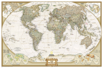 National Geographic - World Executive, Poster Size Map Laminated Poster Prints by National Geographic