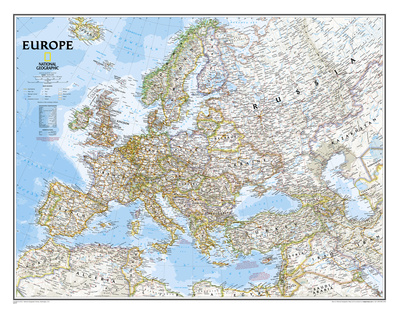 National Geographic - Europe Classic Map, Enlarged & Laminated Poster Prints by National Geographic