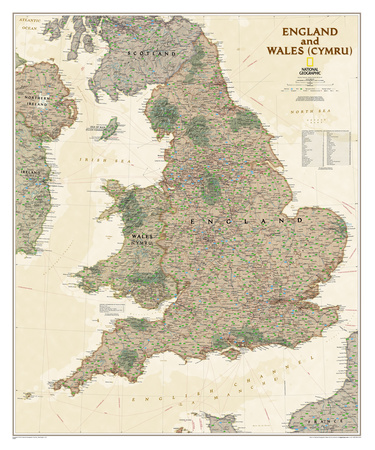 National Geographic - England & Wales Antique Map Poster Poster by National Geographic