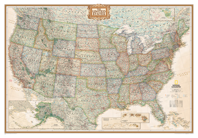 National Geographic - United States Executive Map, Enlarged & Laminated Poster Posters by National Geographic