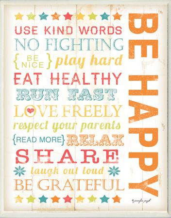 Be Happy Kids Typography Rules Rectangle Wood Sign
