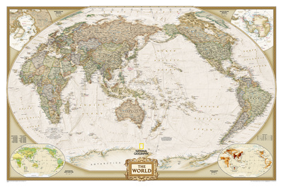 National Geographic - World Executive, Pacific Centered Map, Enlarged & Laminated Poster Prints by National Geographic