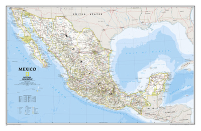 National Geographic - Mexico Classic Map Laminated Poster Posters af Geographic, National