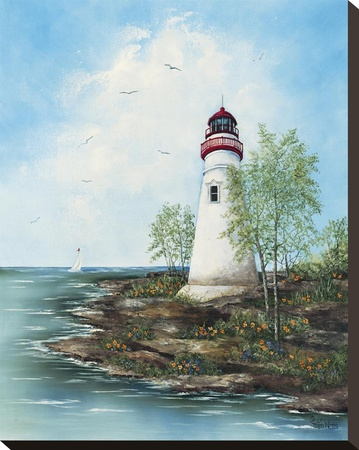 Marblehead Light Stretched Canvas Print by Sherry Masters