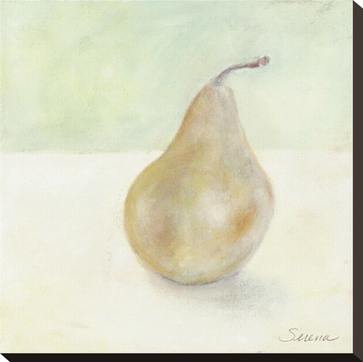 A Pear Alone Stretched Canvas Print by Serena Barton