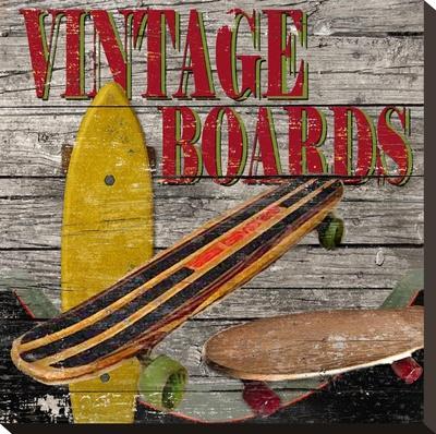 Vintage Skate Boards Stretched Canvas Print by Karen J. Williams