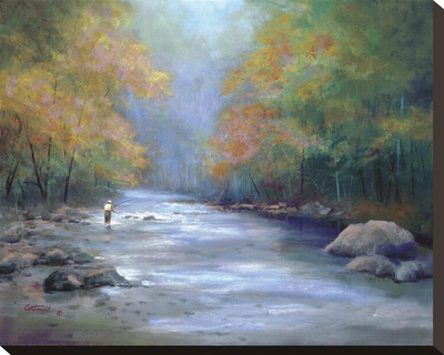 Autumn On The River Stretched Canvas Print by Greg Cartmell
