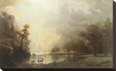 Sierra Nevada Morning Stretched Canvas Print by Albert Bierstadt