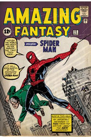 Marvel Comics Retro: Amazing Fantasy Comic Book Cover No.15, Introducing Spider Man (aged) Prints