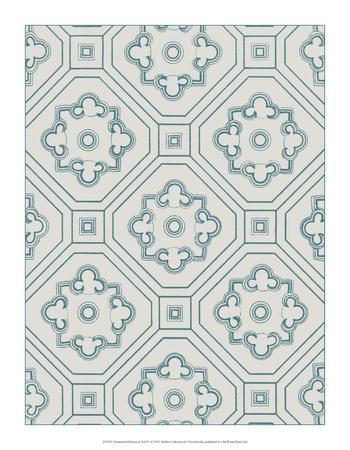 Ornamental Pattern in Teal IV Giclee Print