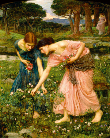 Gather Ye Rosebuds While Ye May Giclée-tryk af John William Waterhouse