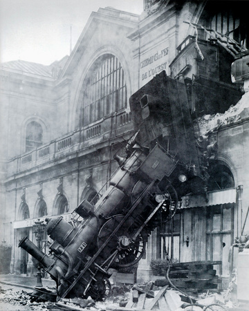 Train Wreck at Montparnasse, Paris, France 1895 Photographic Print by  The Vintage Collection