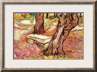The Stone Bench in the Garden of Saint-Paul Hospital Poster by Vincent van Gogh