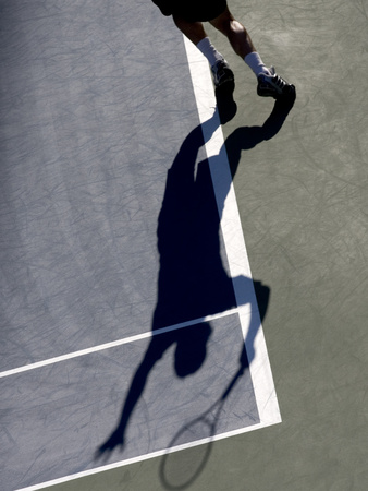 Shadow of Tennis Player Serving Photographic Print