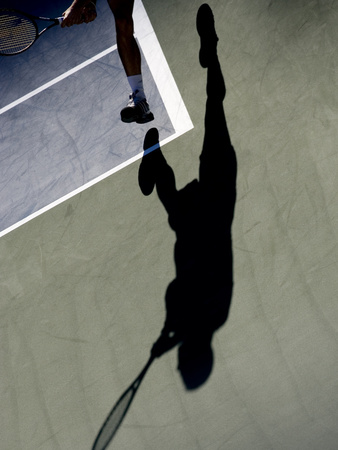 Shadow of Tennis Player in Action Photographic Print