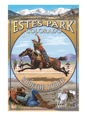 Rooftop Rodeo - Estes Park, Colorado Prints by  Lantern Press