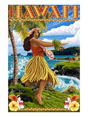 Hawaii Hula Girl on Coast Art by  Lantern Press