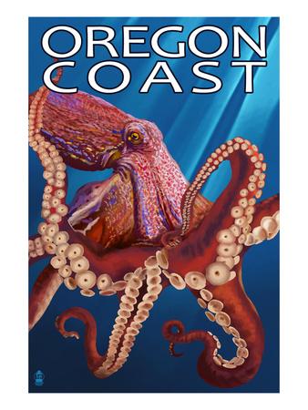 Oregon Coast - Red Octopus Art by  Lantern Press