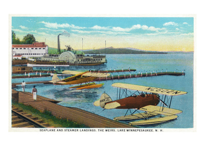 Lake Winnepesaukee, New Hampshire - Seaplanes at the Weirs Poster von  Lantern Press