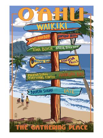 Waikiki, Oahu, Hawaii - Sign Destinations Posters by  Lantern Press