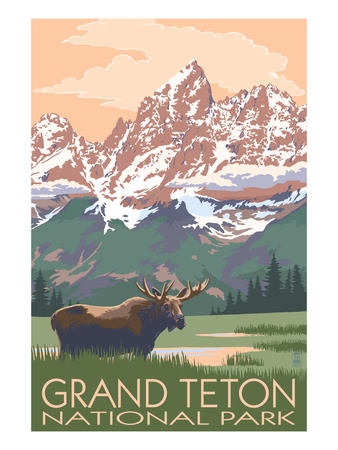 Teton Range mountains snow-covered with moose eating foreground vintage national park poster