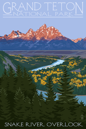 Grand Teton National Park - Snake River Overlook Posters by  Lantern Press