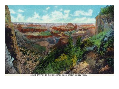 Grand Canyon Nat'l Park, Arizona - Bright Angel Trail View of Grand Canyon Poster by  Lantern Press
