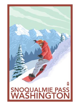 Snowboarder Scene - Snoqualmie Pass, Washington Poster by  Lantern Press