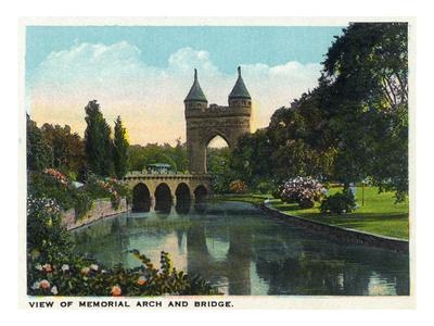 Hartford, Connecticut - Bushnell Park Memorial Arch and Bridge Scene Prints by  Lantern Press