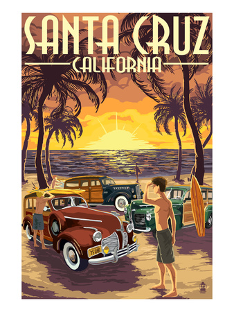 Santa Cruz, California - Vintage Woodies on the Beach Prints by  Lantern Press